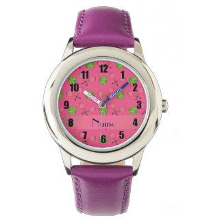 Personalized name pink tennis balls wrist watch