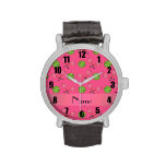 Personalized name pink tennis balls wrist watches