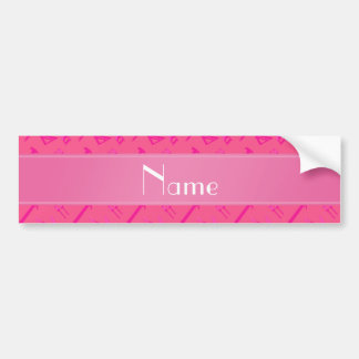 Personalized name pink tools pattern car bumper sticker