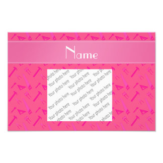 Personalized name pink tools pattern photo print