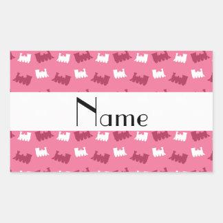 Personalized name pink train pattern rectangular sticker