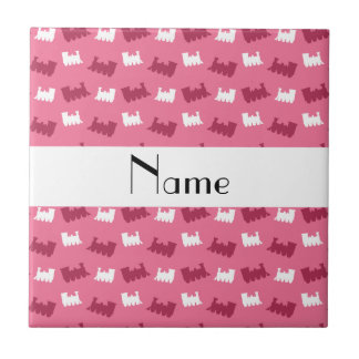 Personalized name pink train pattern ceramic tile