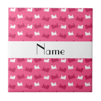 Personalized name pink train pattern tile