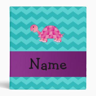 Personalized name pink turtle 3 ring binder