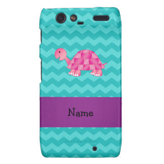 Personalized name pink turtle motorola droid RAZR cases