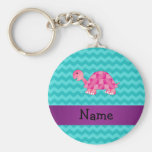 Personalized name pink turtle key chains