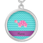 Personalized name pink turtle necklaces