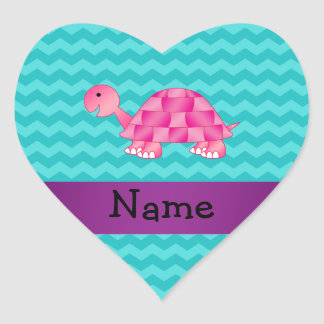 Personalized name pink turtle stickers