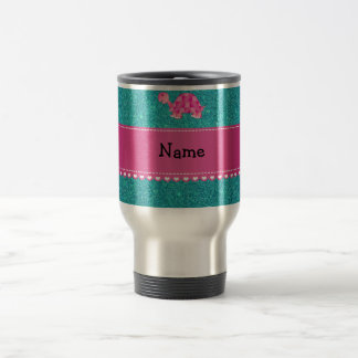 Personalized name pink turtle turquoise glitter coffee mugs