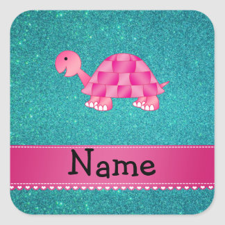 Personalized name pink turtle turquoise glitter square sticker