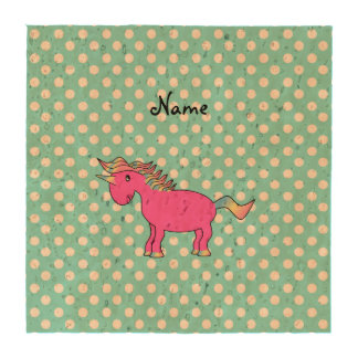 Personalized name pink unicorn blue polka dots coasters