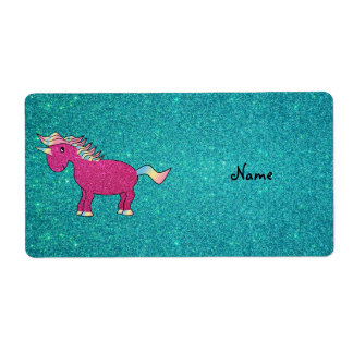 Personalized name pink unicorn turquoise glitter shipping label