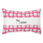 Personalized name pink volleyball balls small dog bed