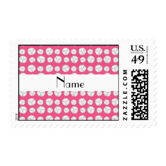 Personalized name pink volleyball balls stamp