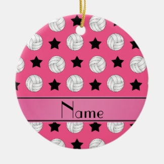 Personalized name pink volleyball black stars ceramic ornament