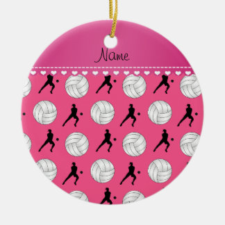 Personalized name pink volleyballs silhouettes ceramic ornament