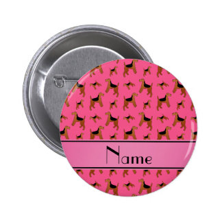 Personalized name pink Welsh Terrier dogs 2 Inch Round Button
