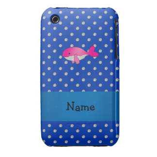 Personalized name pink whale blue diamonds Case-Mate iPhone 3 cases