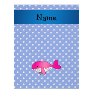 Personalized name pink whale blue diamonds full color flyer