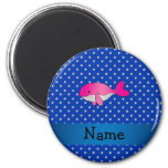 Personalized name pink whale blue diamonds magnet