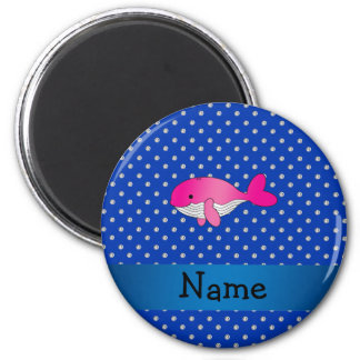 Personalized name pink whale blue diamonds 2 inch round magnet