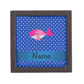 Personalized name pink whale blue diamonds premium jewelry box