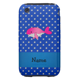 Personalized name pink whale blue diamonds tough iPhone 3 case