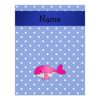 Personalized name pink whale blue polkadots flyers
