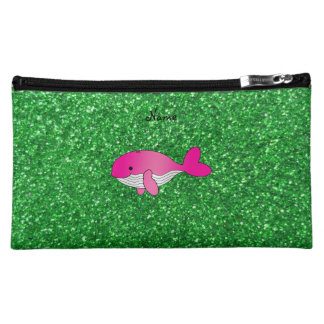 Personalized name pink whale green glitter makeup bag
