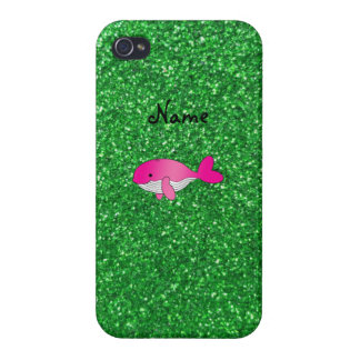Personalized name pink whale green glitter iPhone 4 cover