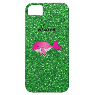 Personalized name pink whale green glitter iPhone 5 cases