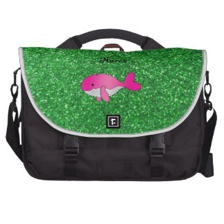 Personalized name pink whale green glitter bag for laptop