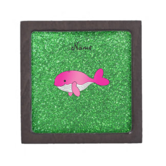 Personalized name pink whale green glitter premium trinket box