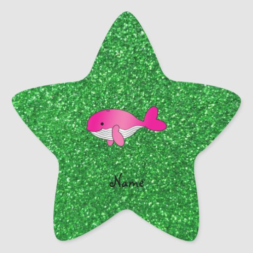 Personalized name pink whale green glitter star sticker
