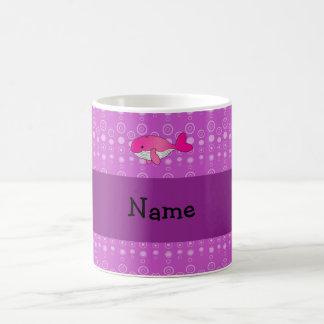 Personalized name pink whale purple bubbles coffee mug