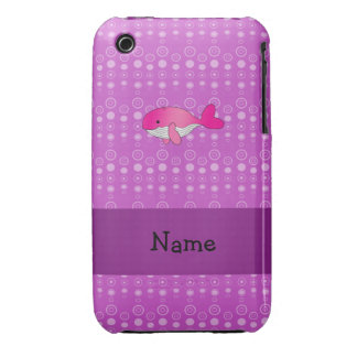 Personalized name pink whale purple bubbles iPhone 3 Case-Mate cases