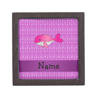 Personalized name pink whale purple bubbles premium gift boxes