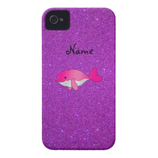 Personalized name pink whale purple glitter Case-Mate iPhone 4 cases