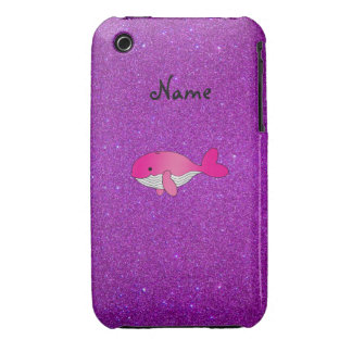 Personalized name pink whale purple glitter iPhone 3 case