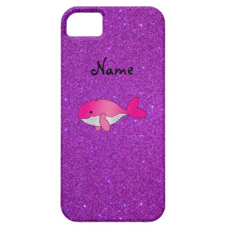 Personalized name pink whale purple glitter iPhone 5 cover