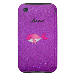 Personalized name pink whale purple glitter tough iPhone 3 cases