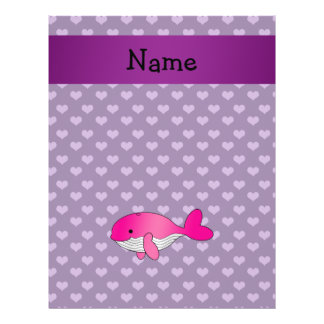 Personalized name pink whale purple hearts custom flyer