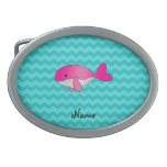Personalized name pink whale turquoise chevrons belt buckle