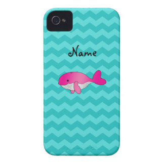 Personalized name pink whale turquoise chevrons Case-Mate iPhone 4 case