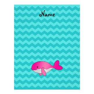 Personalized name pink whale turquoise chevrons full color flyer