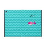 Personalized name pink whale turquoise chevrons cover for iPad mini