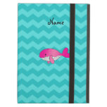 Personalized name pink whale turquoise chevrons iPad cover