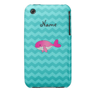 Personalized name pink whale turquoise chevrons iPhone 3 Case-Mate case