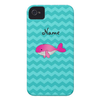 Personalized name pink whale turquoise chevrons iPhone 4 cases