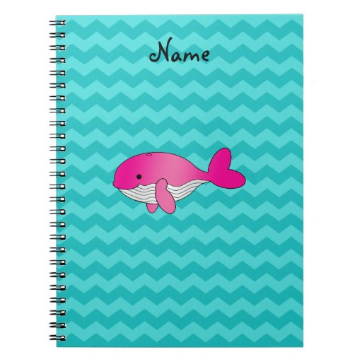 Personalized name pink whale turquoise chevrons note books